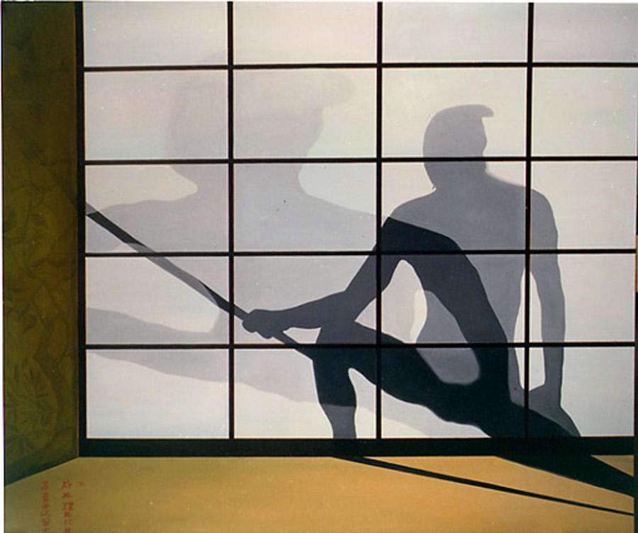 Trittico dell'Eroe<br>olio su tela Kakemono<br>cm 160 x 180