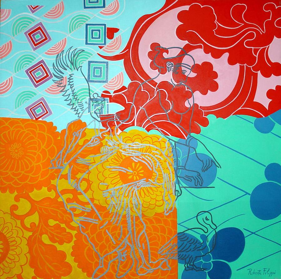 Ipathya<br>olio su tela<br>cm 100 x 100