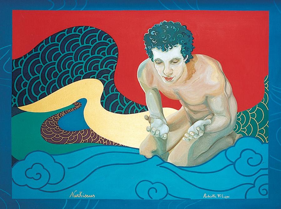 Narkissus - Ritratto dell'attore Fiorenzo Fraccascia<br>acrilico su tela Makemono<br>cm 210 x 80